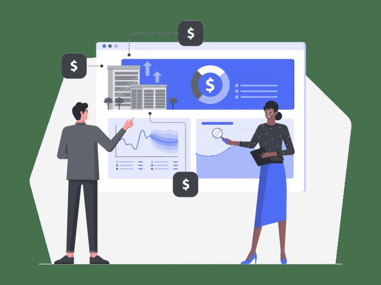 An illustration of two people auditing digital marketing platforms