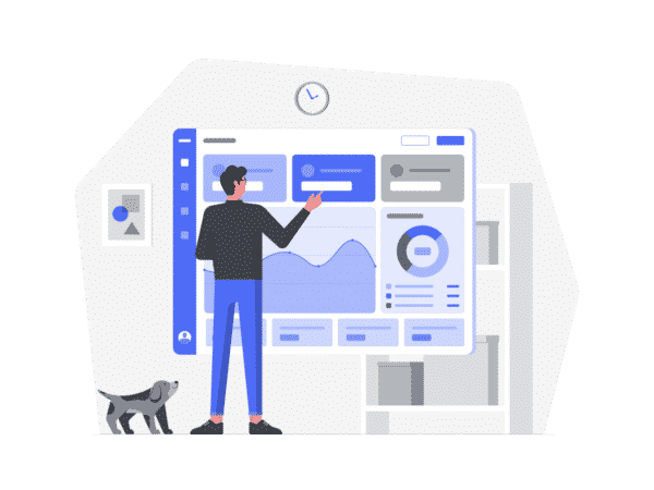 An illustration of a man building and reviewing a digital marketing report
