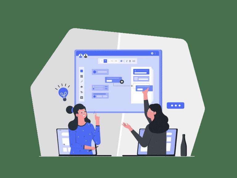 An illustration of two women strategizing social media marketing